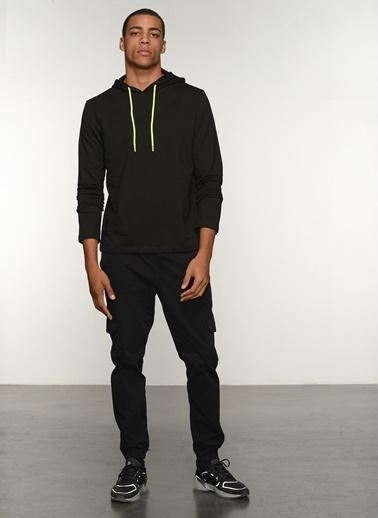 People By Fabrika Erkek kapüşonlu Yaka  Sweatshirt PFESS21SW0010 Siyah